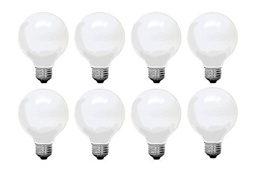 Set of 8 General Electric G25 Decorative Soft White 60w Light Bulbs 660 Lumens