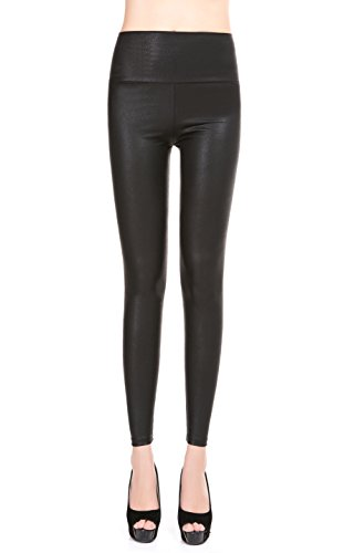EDENKISS Women's High Waist Leather Legging Medium Size Matte (Womens Matte Black Leather)