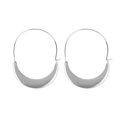 Crescent Hoop - RIAH FASHION Crescent Moon Metallic Hoop Earrings - Lightweight Hoop Cutout Profile Threader Dangles (Solid Crescent Moon - Silver)