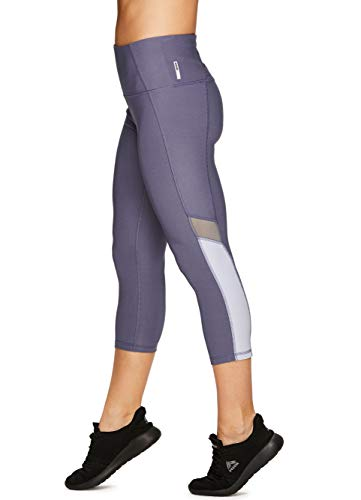 RBX Active Women's Colorblock Mesh Running Yoga Capri Leggings S.19 Purple M ()