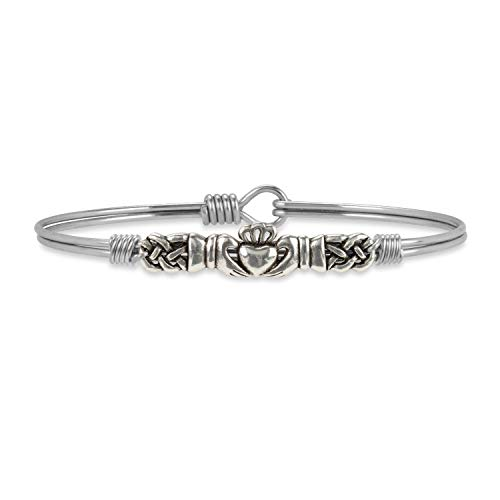 - Luca + Danni Claddagh Bangle Bracelet - Regular/Silver Tone