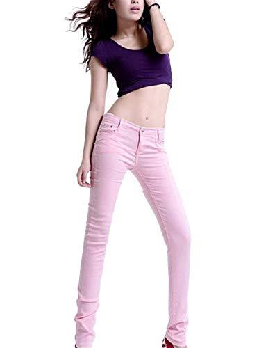 Couleur Unie Poches Pantalon En Casual De Haute Pink Crayon Taille Devant Mode Maigre Jeans Dame Denim Décontracté n8wvmy0NO