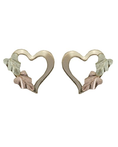 Heart Silhouette Earrings, 10k Yellow Gold, 12k Green and Rose Gold Black Hills Gold Motif by The Men's Jewelry Store (for HER)