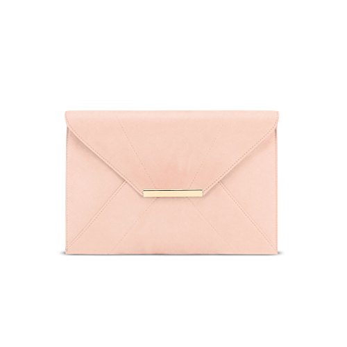 - ZKHOECR Crossbody Purses for Women Ladies Envelope Clutch with Removable Chain Strap Party Bags Faux Suede Evening Elegant Wallet with Pockets Magnet Hook Lightweight Handbag Light Pink