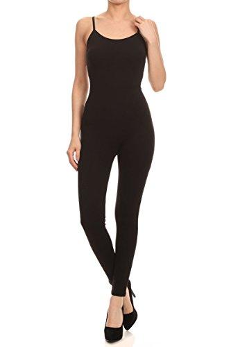 Leggings Depot Women's Popular Spaghetti Strap Bodycon Tank Unitard Catsuit Jumpsuit Rompers (Black, XL)
