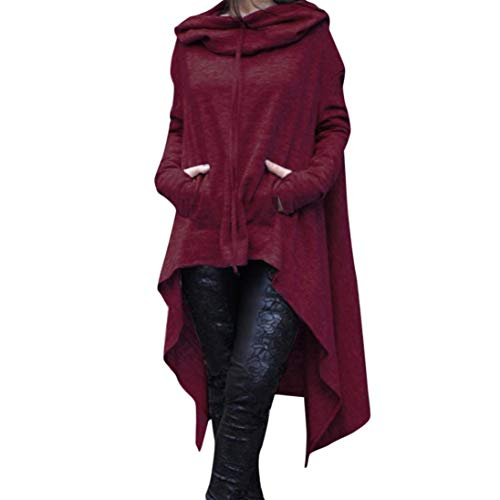 Rambling New Women's Pullover Irregular Hem Long Drawstring Loose Hoodie Top Dress Wine