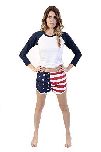 UZZI USA Flag Women's Basic Running Shorts Swimwear Trunks USA (Small) ()