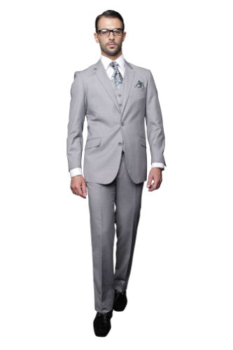 Statement 3 PC MEN'S SUIT TZ-100 Italian Solid Color Super 150'S Wool