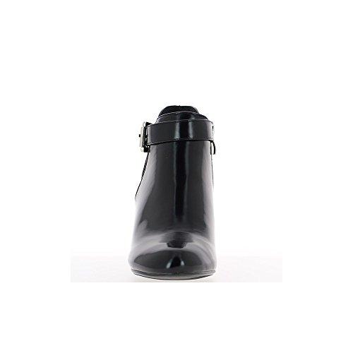 Bottines compensées noires talon de 9cm aspect cuir verni