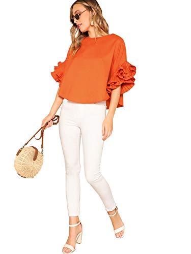 DIDK Women's Plain Pleated Ruffle Sleeve High Low Hem Top Orange S