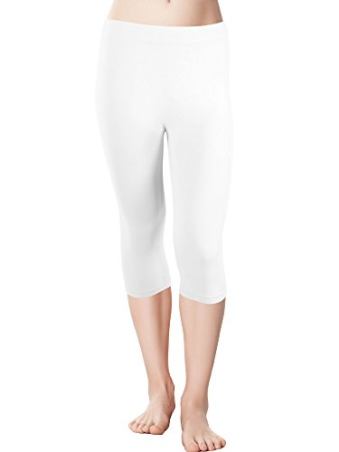 (Red Bene Women's Microfiber Seamless Capri Leggings, Plus-Size White)