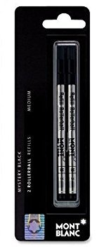 Montblanc MNB15158 - Rollerball Pen Refill, Medium Point, 2/PK, Black Ink