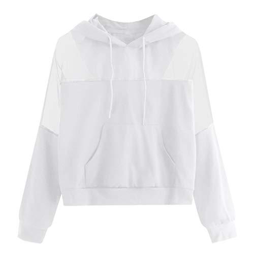 Womens Mesh Hooded Sweatshirt Ladies Drawstring Long Sleeve Loose Pullover Hoodie Blouse Sports Fitness Tracksuit Tops (White, XL) (White Hollister Sweatshirt)