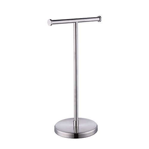 Pedestal Toilet Paper Stand - Kes SUS304 Stainless Steel Bathroom Lavatory Pedestal Toilet Paper Holder and Dispenser Free Standing, Brushed, BPH280S2-2