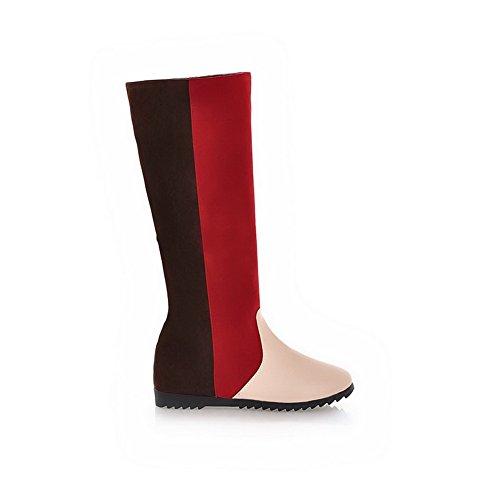 Amoonyfashion Womens Gesloten Ronde Neus Lage Hakken Pu Katoen Diverse Kleuren Laarzen Met Verhoog Binnenin Rood