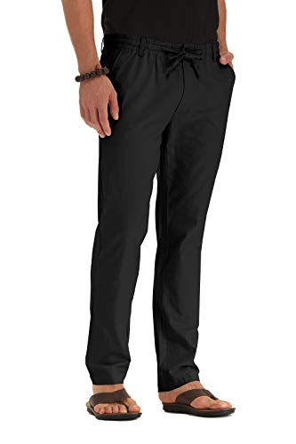 ZYFMAILY Men's Linen Drawstring Casual Beach Pant-Lightweight Summer Trousers Black-US 36 ()