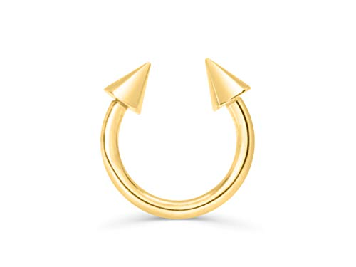 (ONDAISY Jewelry 10mm 14K Gold Plated Stainless Steel Spike Cone Open Round Circle Hoop Ring Ear Piercing For Women Girls Men Hypoallergenic Minimalist)