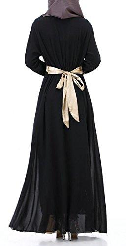 Femmes Cromoncent Manches Longues Mince Robe En Mousseline De Soie Robe Musulmane Islamic Coutures De Dentelle Noire
