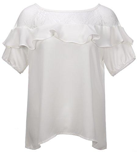 QZUnique Women's Plus Size Sexy Blouse Short Sleeve Fashion Lace Shirt Top Ivory XL