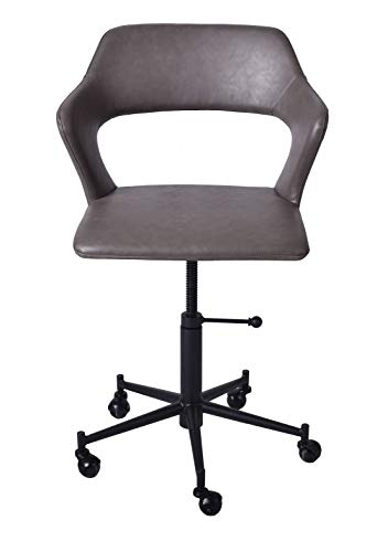 Grey Desk Chair with Wheels-Modern Industrial PU Leather Office Chair Adjustable Home Computer Executive Chair on Wheels,360° Swivel with Backrest Armrest,17.7″-23.6″
