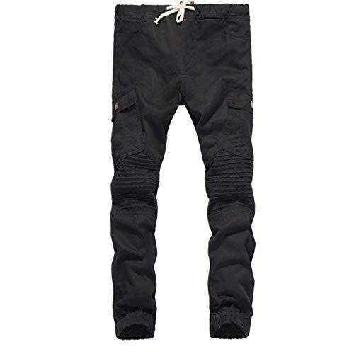 unita coulisse uomo con Targogo con nero elastico tinta tasca Pantaloni base casual qwCI8