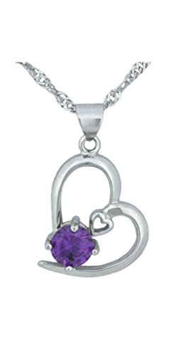 White Gold 925 Silver Necklace Purple Crystal Heart Shape - Gold Singapore Purple