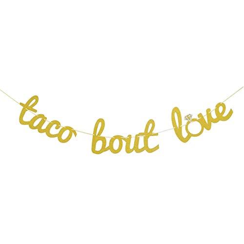 Finseng Taco Bout Love Gold Glitter Banner Sign