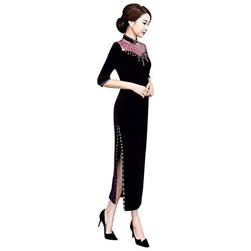 Costume Lungo Qipao Tradizionale Sera Abito Velluto Abiti Xinvision Cinese Cheongsam Viola Donna wqIa88