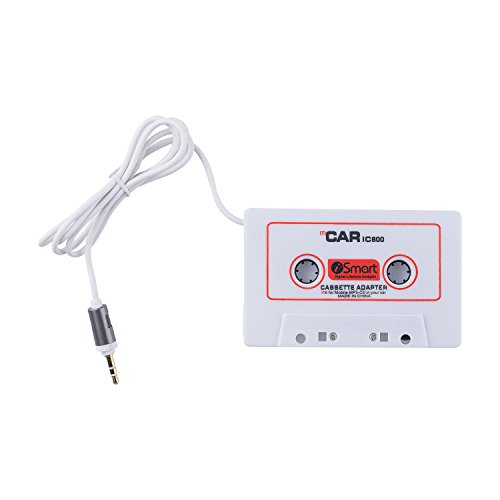 3.5mm Car Audio Tape Cassette Adapter for iPhone iPad iPod MP3 MP4 Player CD Radio nano by Movingtech,2.5 Feet Cord(White)