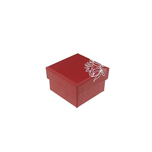 sensitives Lotus Pattern Paper Red Jewelry Box Necklace Earrings Ring Set Boxes for Gift Packing & Display 1 Piece,5x5cm