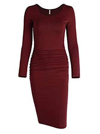 6650545e889 Missufe Women s Long Sleeve Ruched Bodycon Knee Length Sheath Maternity  T-Shirt Fitted Beach Dress