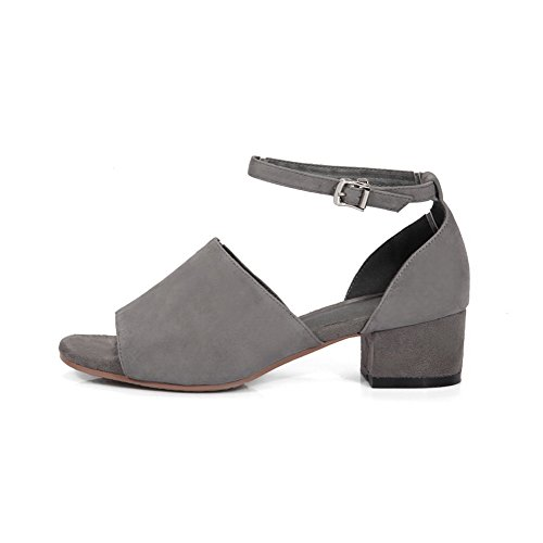 BalaMasa Womens Sandals Peep-Toe Buckle Ankle-Wrap Kitten-Heel Cold Lining Not_Water_Resistant Nubuck Fashion Urethane Sandals ASL04528 Gray CTBwI
