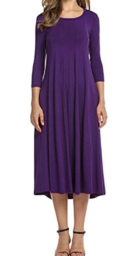 Colored 3 4 Sleeve Dress Gown Purple Crewneck Ball Women Casual Beach Solid Coolred pxf4tUf