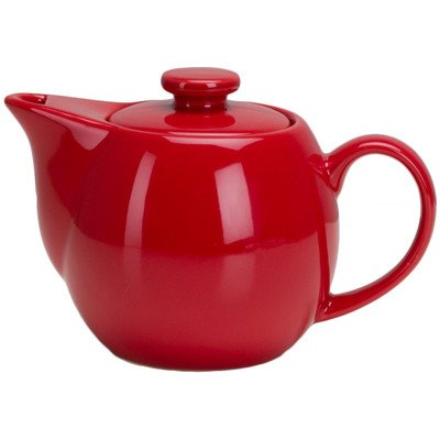OmniWare One-Two Teaz Café Simply Red Stoneware 14 Ounce Teapot with Infuser