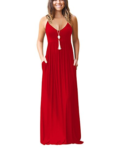 Chic-Lover Women's Summer Sleeveless Loose Plain Maxi Dress Casual Flowy Vacation Long Dresses with Pockets Red S