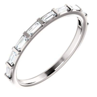 (Platinum 3x1.25mm Polished 0.25 Dwt Diamond Straight Baguette Anniversary Band Ring - Size 6.5)