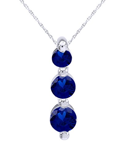 Round Cut Three Stone Journey Pendant Necklace in 14K White Gold Over Sterling (Sapphire Journey Necklace)