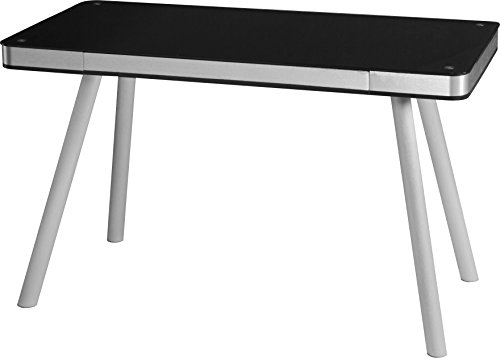 OneSpace Easy Assembly Black Glass Writing Desk with Brushed Aluminum Frame