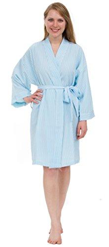 Leisureland Women's Classic Stripe Seersucker Short Robes (One Size, Light Blue)