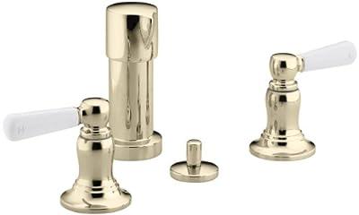KOHLER K-10586-4P-AF Bancroft Vertical Spray Bidet Faucet with White Ceramic Lever Handles, Vibrant French Gold