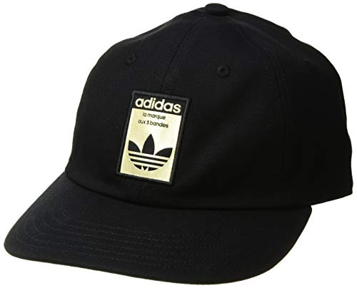 adidas Men's Originals Relaxed Base Strapback Cap, black/gold, One Size