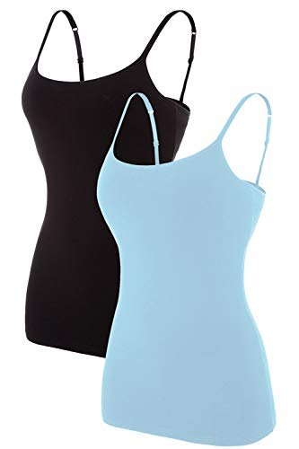V FOR CITY Cotton Shelf Bra Cami for Women Organic Cotton Spaghetti Camisole Tank Top Blue S ()
