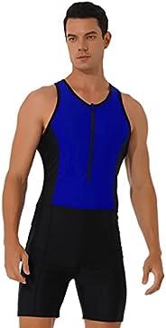 Hansber Men's One Piece Rash Guard Swimsuit Racerback Tank Top Surfing Suit Singlets Leotard Bodysuit Swim