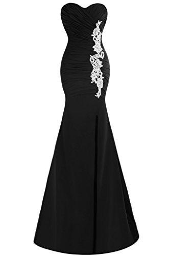 sunvary Mermaid Sweetheart appliques Slit novia Vestidos de Fiesta negro