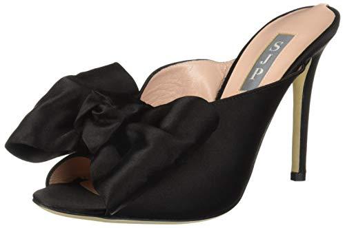 SJP by Sarah Jessica Parker Women's Vesper Peep Toe Bow Mule Pump, Black Satin, 37 B EU (6.5 US) ()