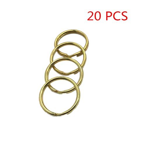 YES Time 20 PCS Heavy Duty Pure Copper Round Key Rings Key Chain Hooks Split Rings (Large: 2.2mmx30mm)