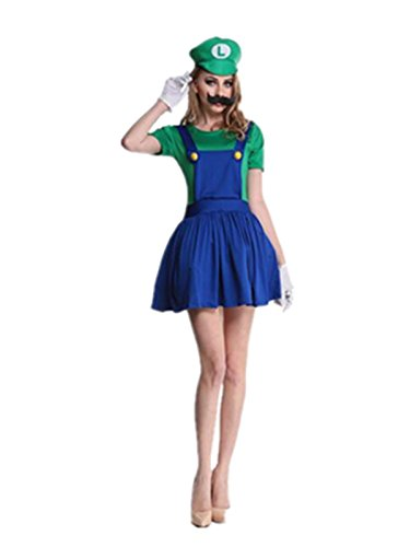Leright Women's Halloween Costume Mario Adult Cosplay Costume, Green, XXL(US Size XL)