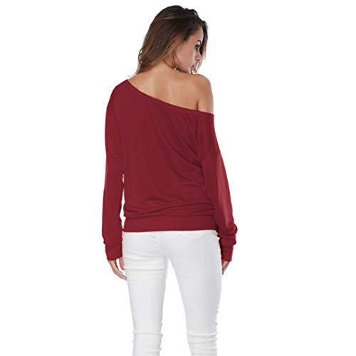 Street XL Femmes Wear Ladies Sexy Erosion Tuniques Casual Imprimer Tops Out épaule Zhrui Rouge Blouse élégantes Sweat Pull Taille Cool Couleur BnWPFfp