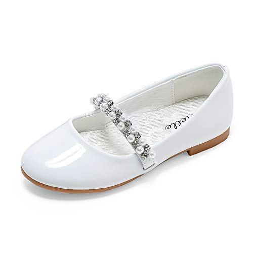 STELLE Girls Mary Jane Shoes Slip-on Party Dress Flat (1ML, White)