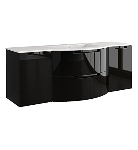 LaToscana OA67OPT4 Oasi 67 inch Modern Bathroom Vanity with 2 Slow Close Drawers, Left and Right Side Cabinets and Tekorlux Sink Top With Finish: Glos